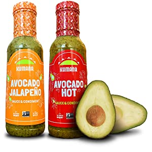 Kumana Avocado Hot Sauce, Hot and Jalapeño Combo Pack. Made with Ripe Hass Avocados & Chili Peppers. Keto & Paleo. Gluten Free, Non-GMO & Low Carb. 13 Oz. Each.