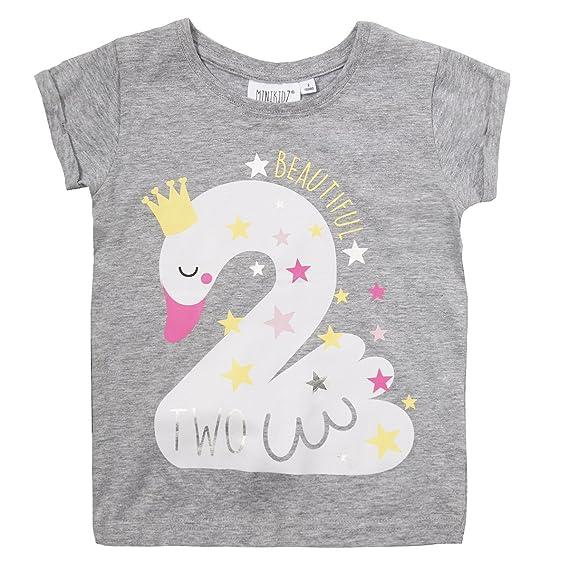 Minikidz - Camiseta de cumpleaños para niña Gris Grey Swan 2 ...
