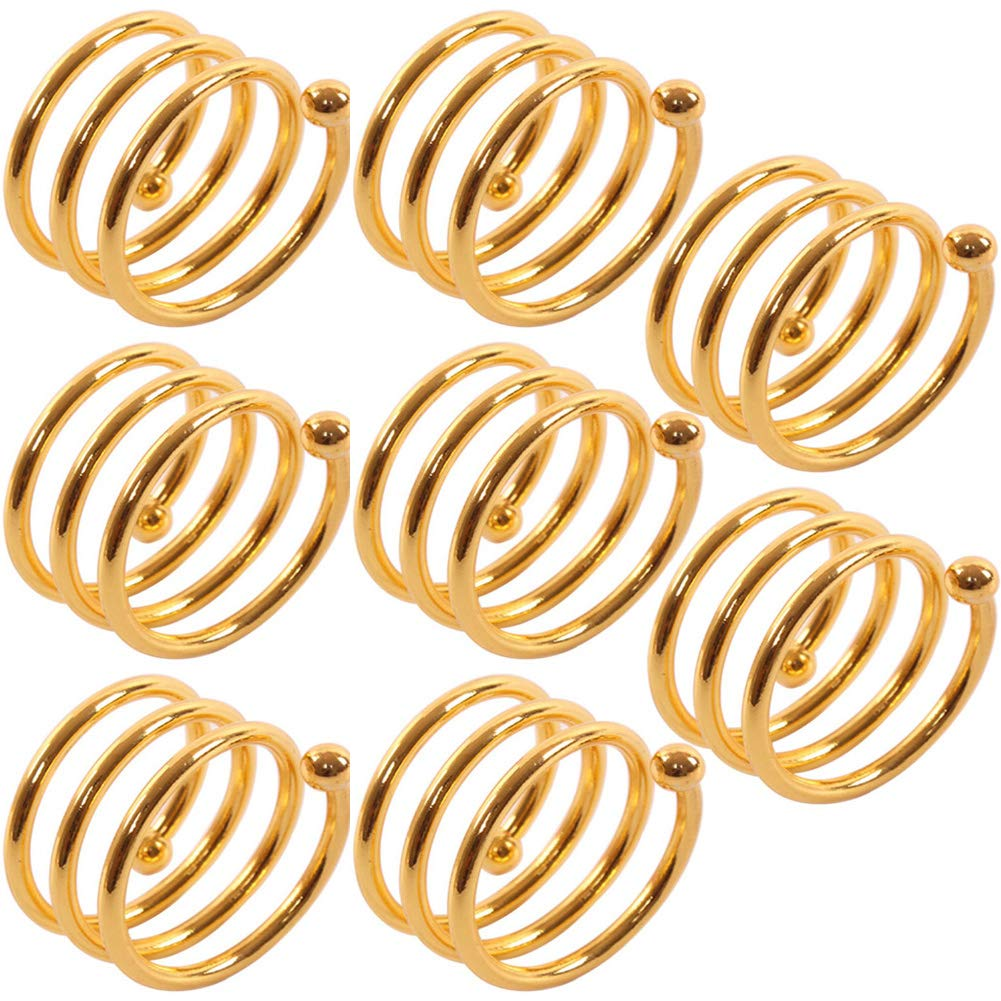 Mike Home Metal Spring Napkin Ring Napkin Buckle, Set of 8 (Gold)