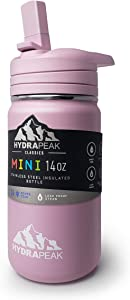 Hydrapeak Mini BPA Free Kids Water Thermos with Straw Lid 14oz - Stainless Steel Vacuum Insulated Toddler Water Bottle for Girls and Boys (Pink)