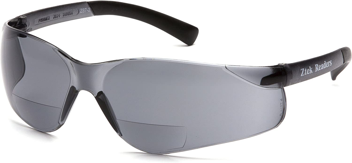 Pyramex Safety Ztek Readers Bifocal Safety Glasses Eye Protection, Gray Lens, 1.5 Diopters, One Size