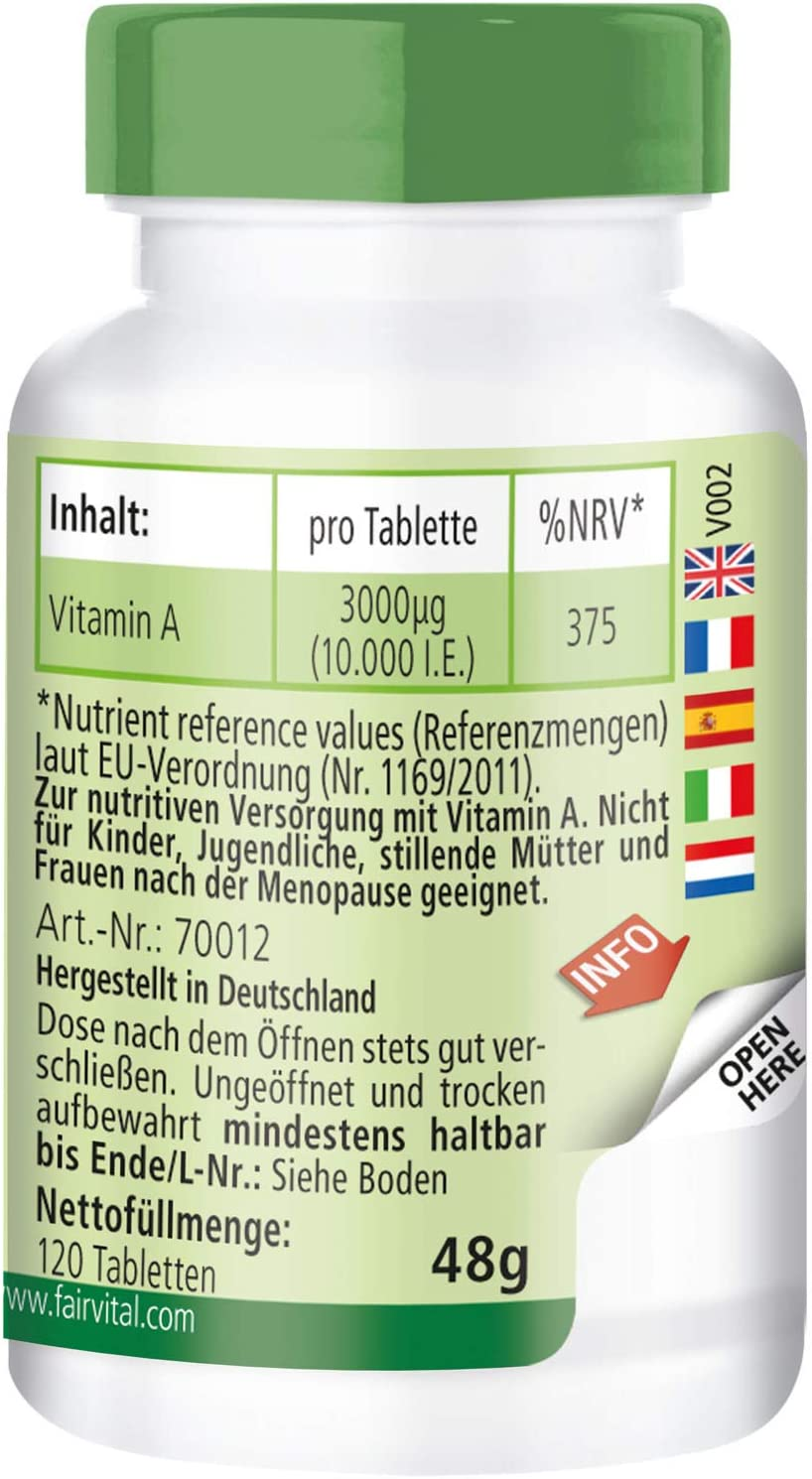 Vitamina A 10000 UI - Bote para 4 meses - Altamente dosificado ...