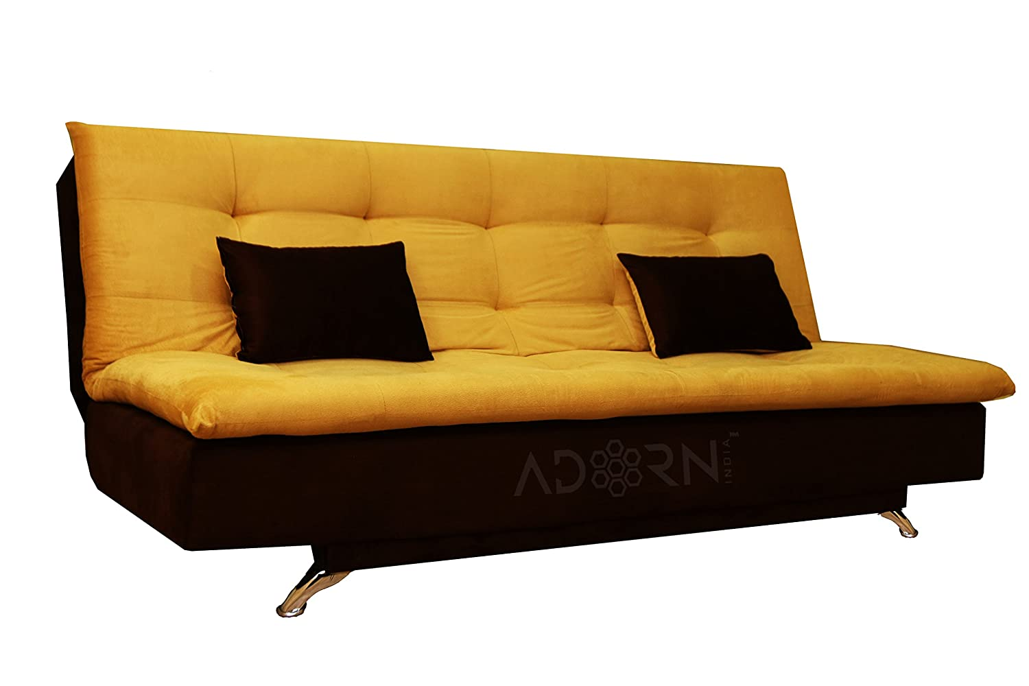 Adorn India Aspen 3 Seater Sofa Cum Bed Brown And Gold Amazon In