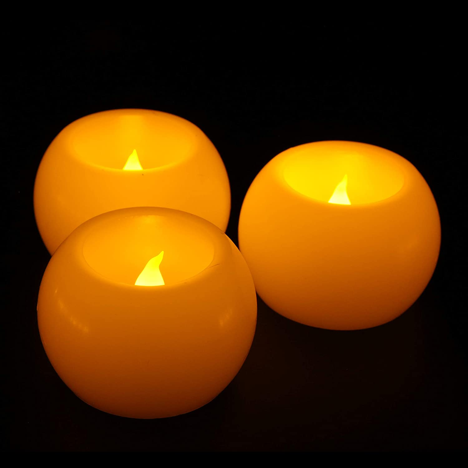 Furora LIGHTING Flameless LED Tea Lights, Votive Tealight Candles Battery Operated - Real Wax Round Shaped Votives LED Tea Lights Candles with Realistic and Romantic Flickering Flame - Pack of 3