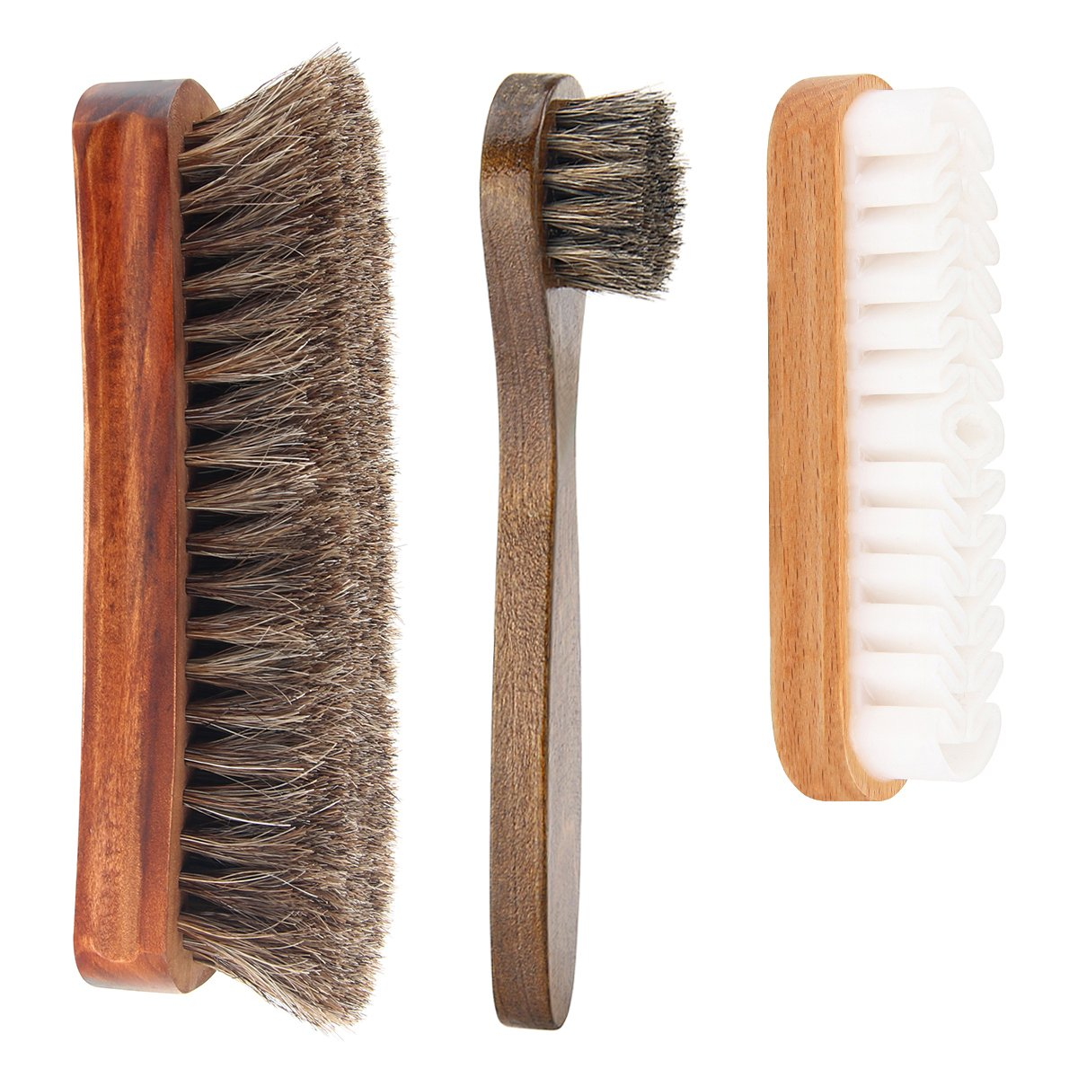 Shoe Shine Brush Kit, Scheam Pack of 3 Soft Horsehair Brush Shoe Dauber and Suede Brush for Men's Women's