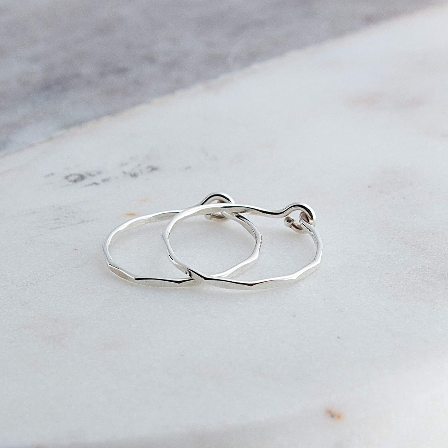 Extra Thin Faceted Sterling Silver Hoop Earrings Cartilage Tragus Handmade Hammered