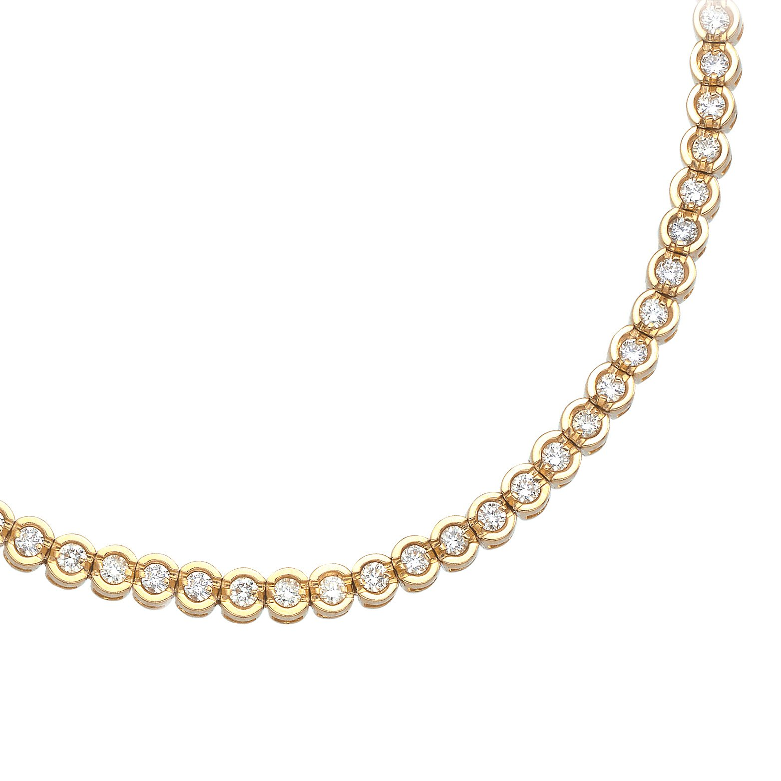14K Yellow Gold Round Diamond Circular Style Tennis Bracelet (7 Inch Length) by Direct-Jewelry