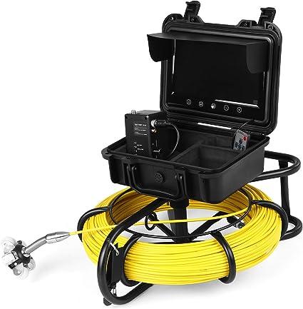 Lixada Inspektionskamera 9 Zoll 100 Meter Rohrinspektionskamera Drain Sewer Pipeline Industrial Endoscope Snake Camera Mit Metermarkierung Sport Freizeit