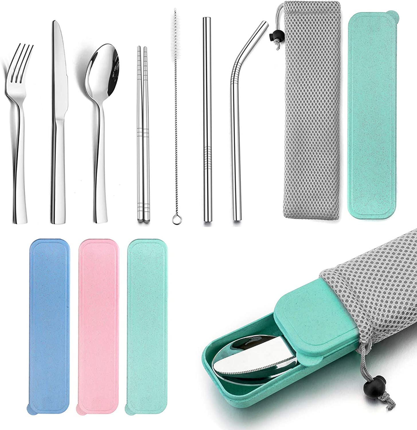 Portable Travel Utensils with Case, HaWare Stainless Steel Silverware Set for Camping Office School Lunch, Including Knife Fork Spoon Chopsticks, Reusable and Dishwasher Safe(Green)