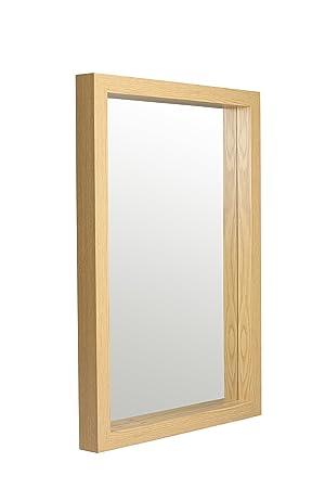 Reflex 83 x 58cm Deep Box Oak Effect Framed Mirror Wall Hanging ...