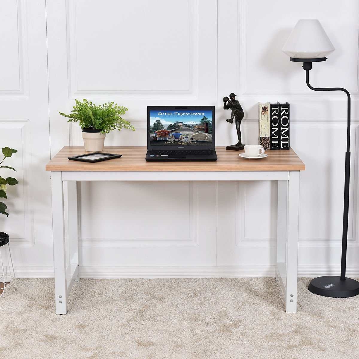 CHEFJOY Computer Desk PC Laptop Table Wood Work-Station Study Home Office Furniture