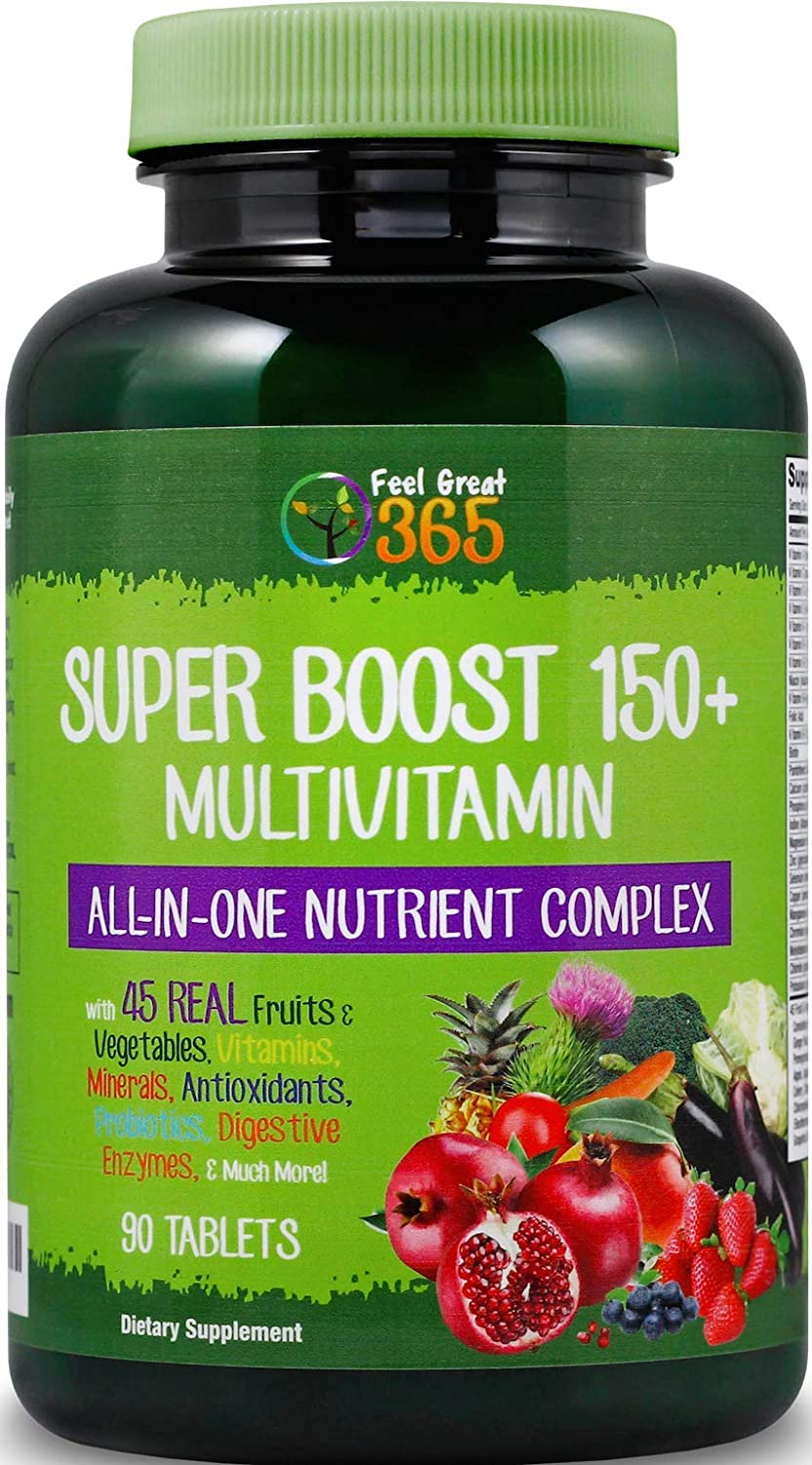 Super Daily Boost 150 Whole Food Multivitamin Capsules – Supports The Immune System, Natural Energy Mental Focus* Blend of Real Fruits, Veggies, Vitamins, Minerals Antioxidants Halal Certified