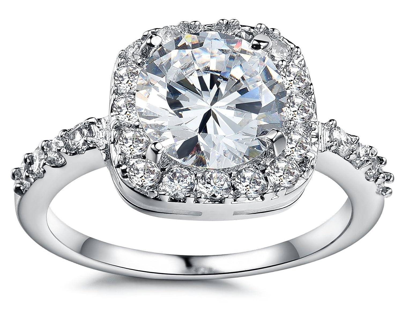 Amazoncom Olen White Gold Plated Cubic Zirconia Diamond Engagement