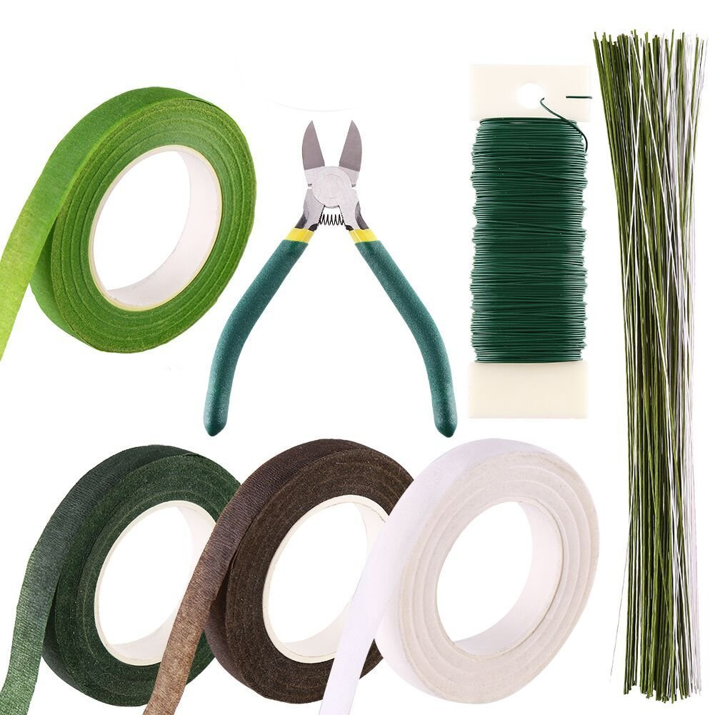 Decora Floral Tools Kits Wire Floral Stems 18 Gauge,22 Gauge and 26 Gauge, Wire Cutter and Floral Tape for Floral Arranging Craft Projects Corsages, Wedding Bouquet