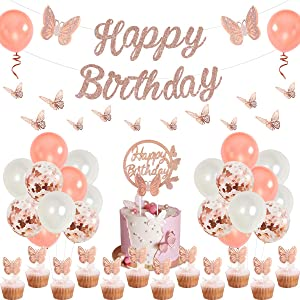 Rose Gold Butterfly Birthday Decorations Set Butterfly Happy Birthday Banner Cake Topper Picks 3D Wall Stickers for Butterfly Theme Party, Spring Birthday, Fairy Garden Party Supplies