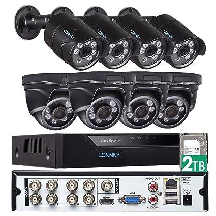 Sistema de cámara de Seguridad LONNKY, Sistema de vigilancia 8CH Full HD 1080P NVR con