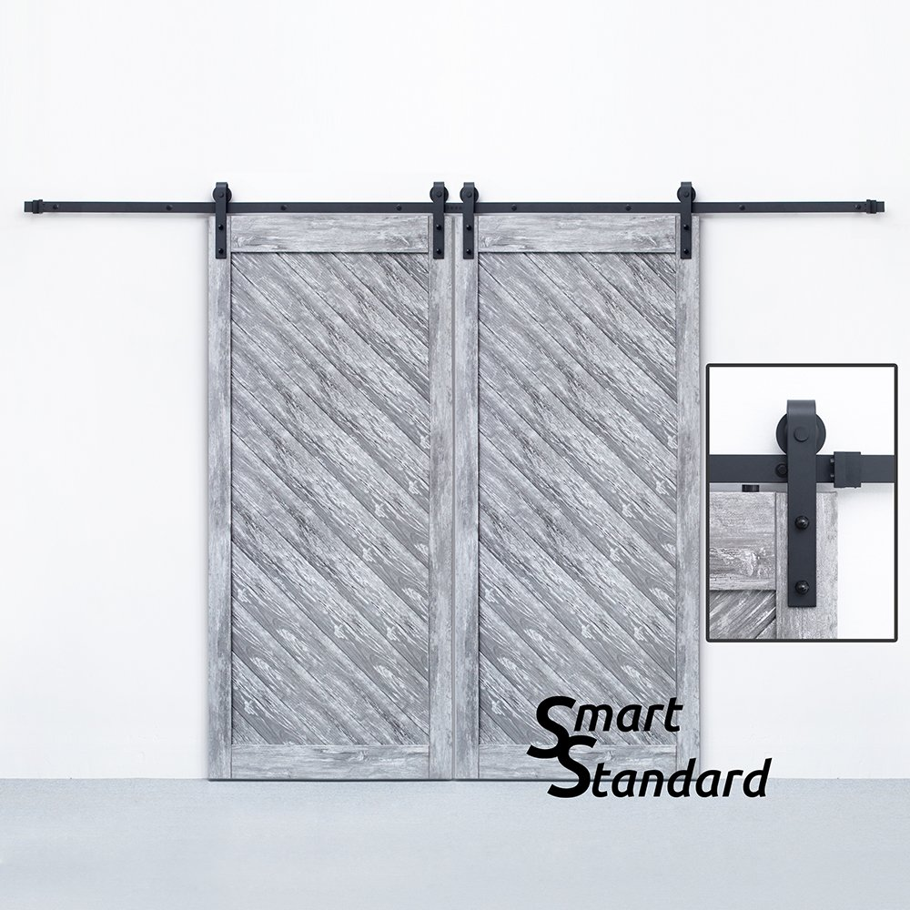 SMARTSTANDARD 10ft Double Door Sliding Barn Door Hardware (Black) (J Shape Hangers) (2 x5.0 foot Rail)