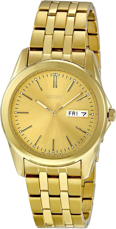 Seiko SGGA48P1 - Reloj analógico de caballero de cuarzo con correa de acero inoxidable dorada - sumergible a 30 metros