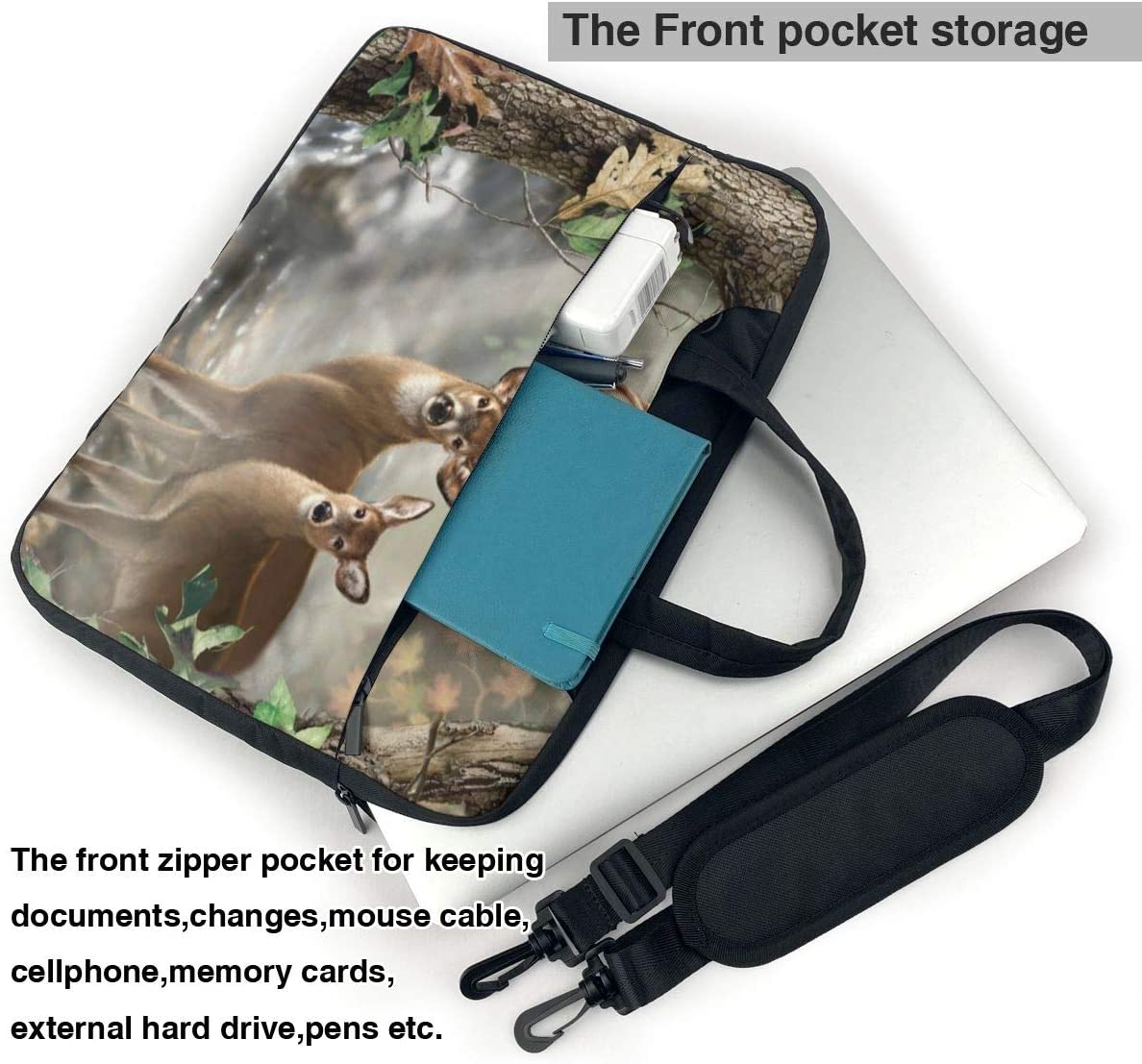 Green Tree Forest Laptop Sleeve Fashion Full Printed Notebook Carrying Case Scratch Resistant Polyester Notebook Carrying Case for College Students White 13inch