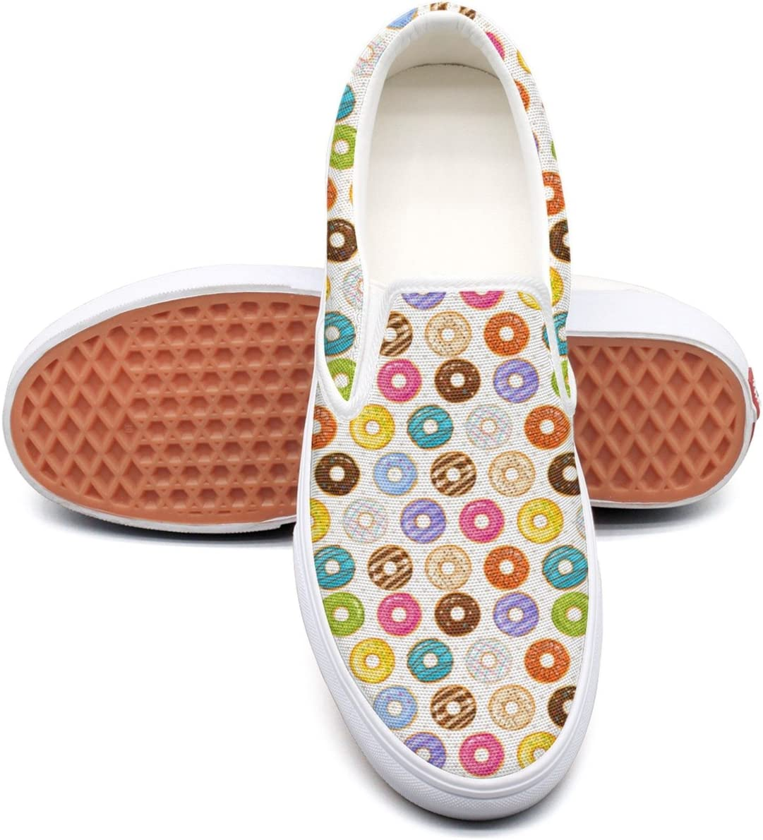 PDAQS Men Powdered Donut Dessert Background Donuts Casual Loafers Slip-on Trainers Low Top