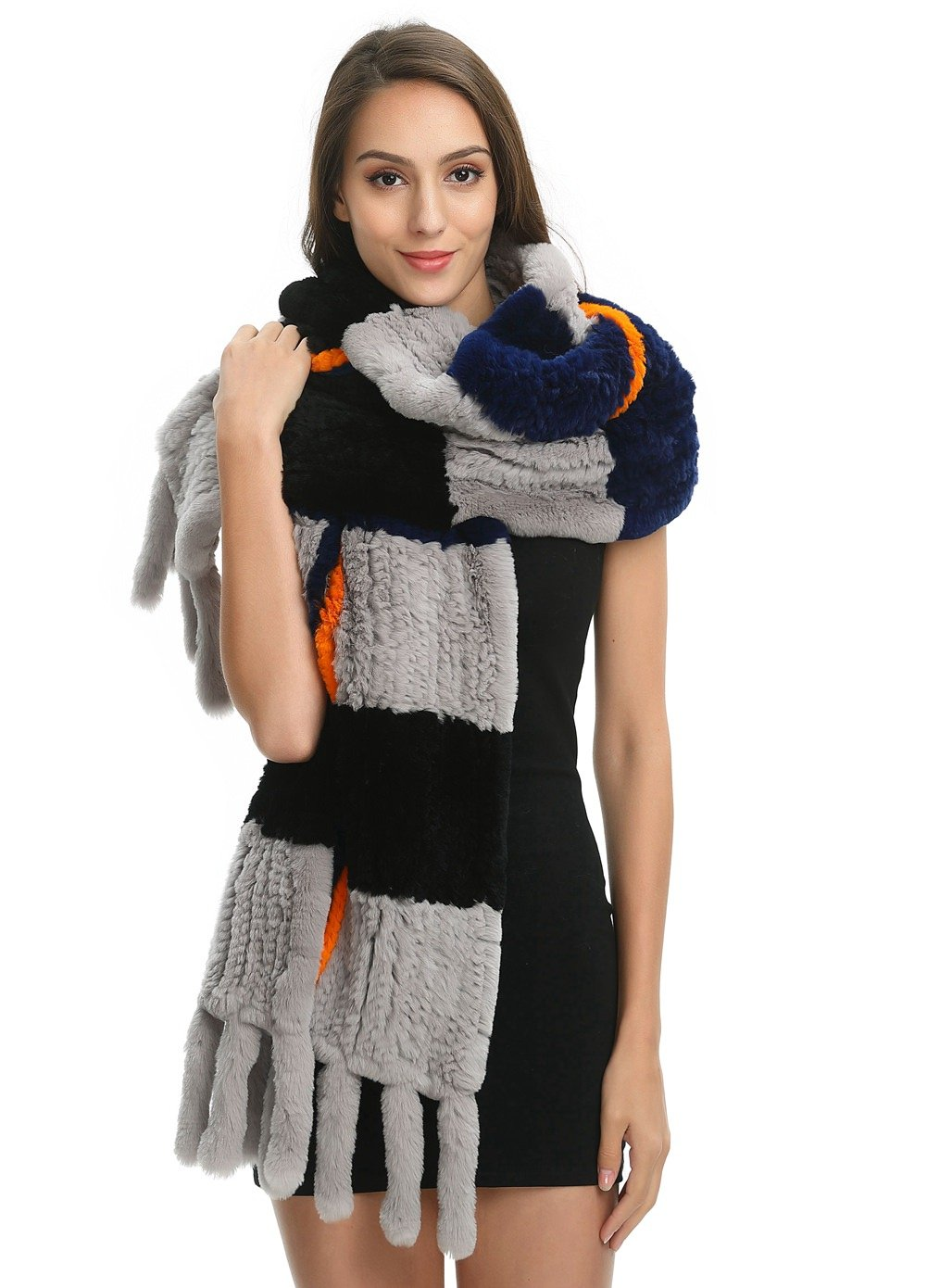 Ferand Women's Luxury Soft Genuine Rex Rabbit Fur Warm Shawl Scarf With Tassels for Winter, One size, Multicoloured black(Rex rabbit fur)
