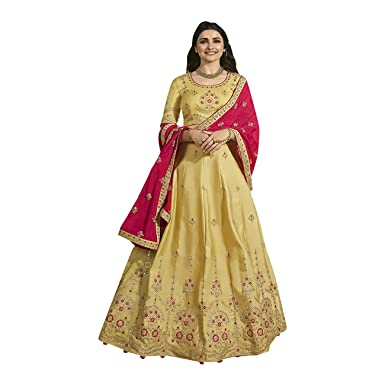 c8dc43cb38 Amazon.com: ADINTERNATIONAL Indian Ethnic Designer Wedding Party Casual wear  Silk Dress Lehenga Choli Dupatta Embroidered Women Wear 1005: Clothing