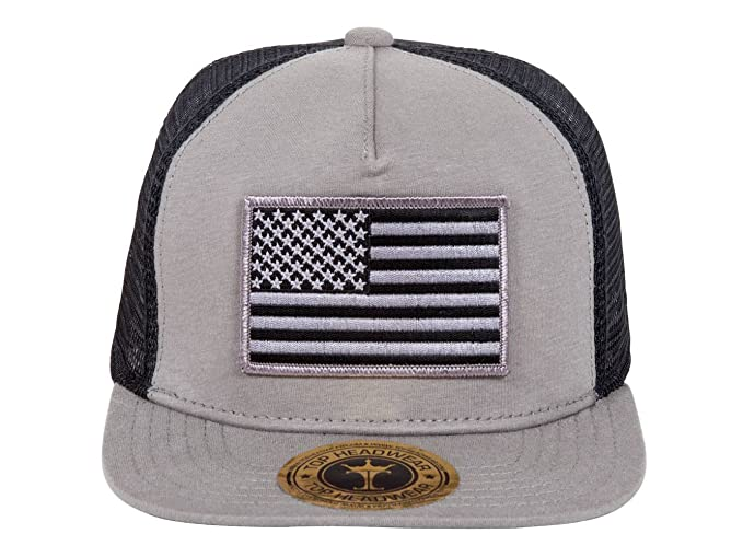 c35a600b572 Image Unavailable. Image not available for. Color  TOP HEADWEAR USA Flag  Cotton Flat Bill Black Mesh Hat - Grey