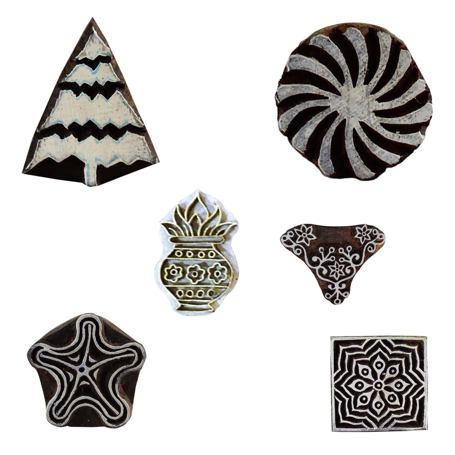 Motif Wooden Printing Block Textile Star Fish, Floral, Christmas Tree and Worship Vase Stamps Craft Clay Pottery Scrapbook Blocks Set 6