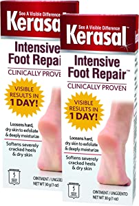Kerasal Intensive Foot Repair Skin Healing Ointment for Cracked Heels and Dry Feet 1 oz, 2 Count, (Pack of 2)