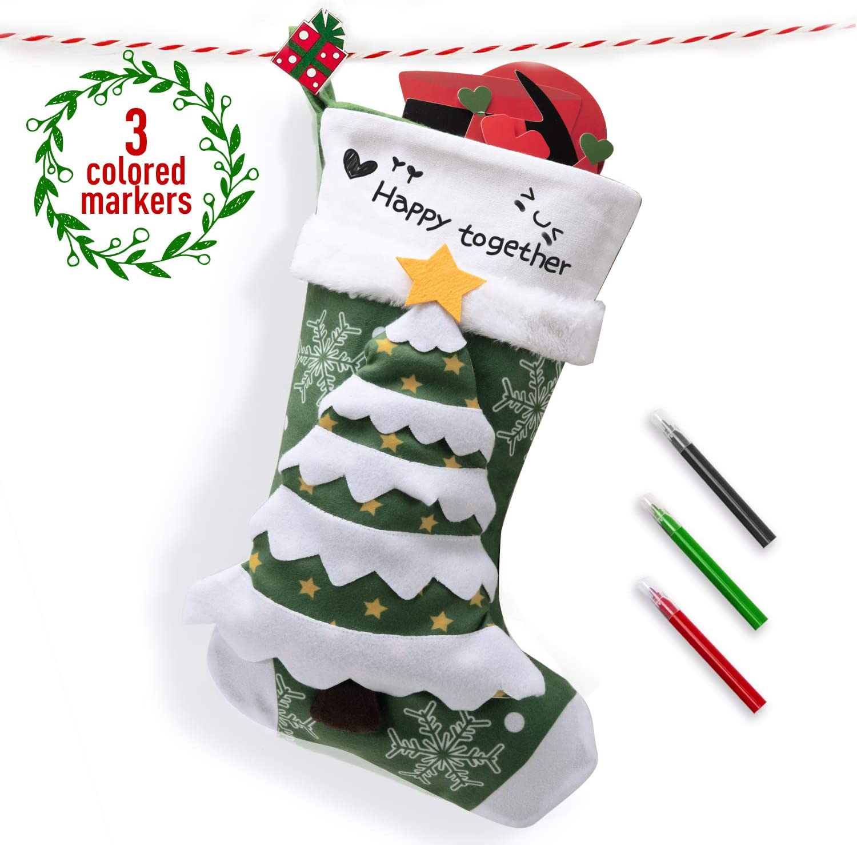 Joyjoz Calcetín navideño marcadores de 3 Colores, Medias navideñas Grandes Personalizadas 3D Hechas a Mano 53cm (Christmas Tree)