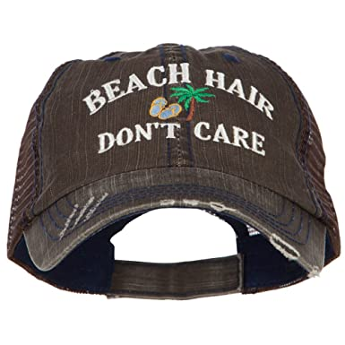 e6946c5bf3ba0 E4hats Beach Hair Don t Care Embroidered Cotton Mesh Cap - Brown OSFM