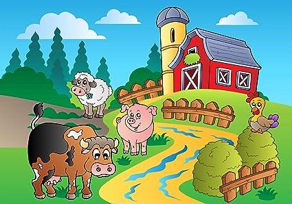 Mural Animaux De La Ferme Cartoon Non Tisse Papier Peint Xxl 400 X