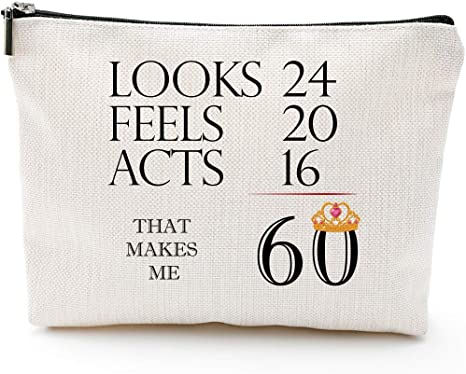 60th Birthday Gifts for Women-T 60 Years Old Birthday Gifts Makeup Bag for Mom, Wife, Friend, Sister, Her, Colleague, Coworker