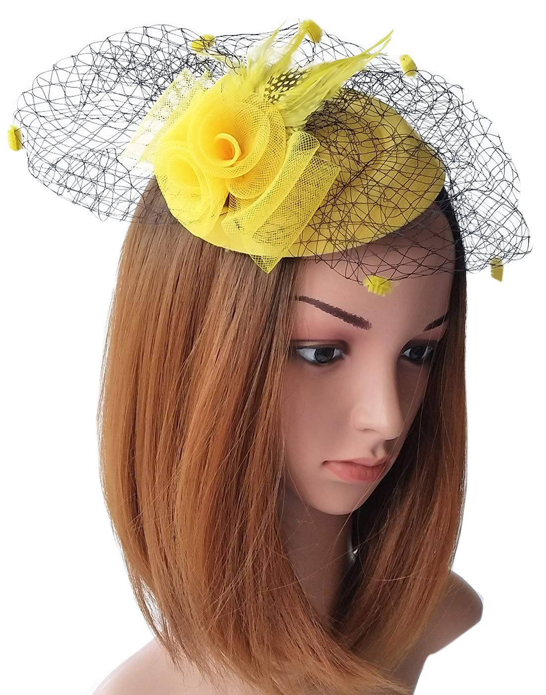 Coolwife Fascinator Womens Pillbox Hat British Bowler Hat Flower Veil Wedding Hat Tea Party Hat (Yellow)