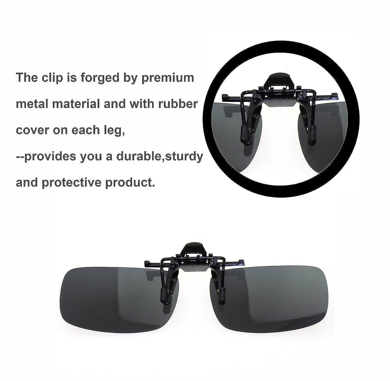 Zando Unisex Outdoor Driving Rectangle Reflective Wayfarer Flip Up Clip on Cycling Sport Polarized Sunglasses