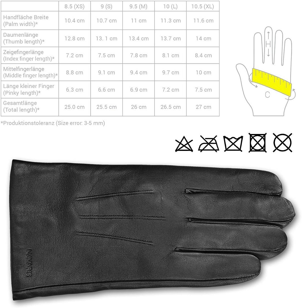 Navaris Guanti Capacitivi Touchscreen Uomo Nero in Vera Pelle con Fodera Cashmere Lana Guanti in Nappa Touch Screen per Smartphone Tablet