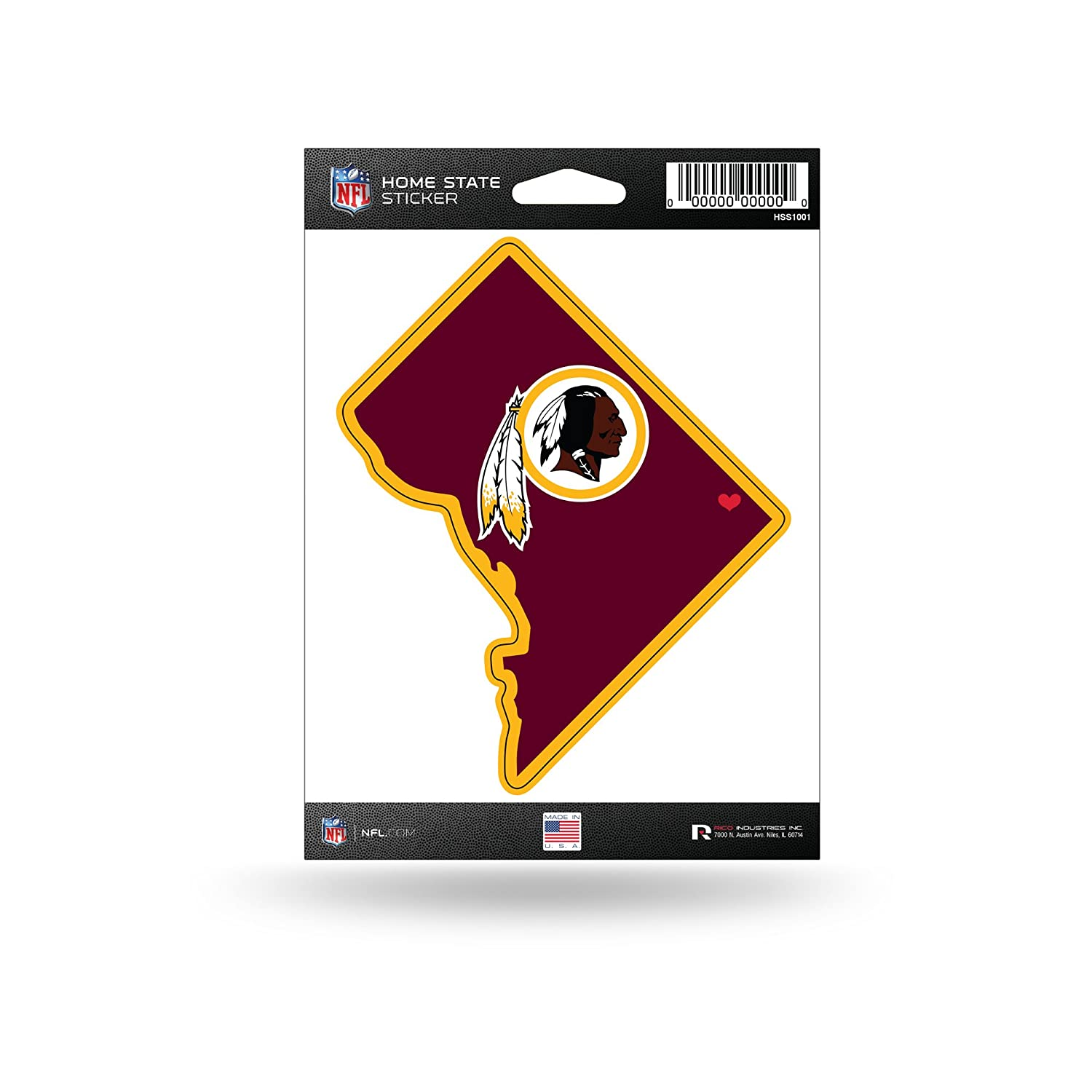 Rico Industries NFL Washington Redskins Home State Sticker