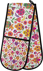 """Sinestour Quilted Double Oven Glove Mitt - Dia De Los Muertos Day of The Dead Halloween Oven Mits 35""""x7"""" Cooking Gloves Heat Resistant Kitchen Accessories for Baking, Grilling"""