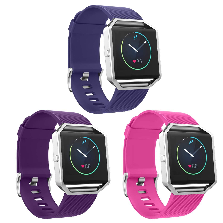 Fitbit Blaze Bands, Skyletソフト交換バンドFitbit Blazeブレスレットソリッドカラーリストバンド(トラッカーなし、フレームなし) B071ZJVLTQ 3 Pack: Blue&Purple&Pink Large: 4.9-7.2 Inches