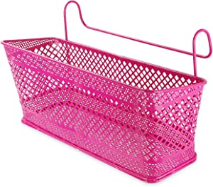 Trycooling Bedside Organizer Caddy Hanging Storage Basket for Dorm Office Home Hospital Bunk Beds to Storage Books Mobile Phones Tissues (Rose Red)