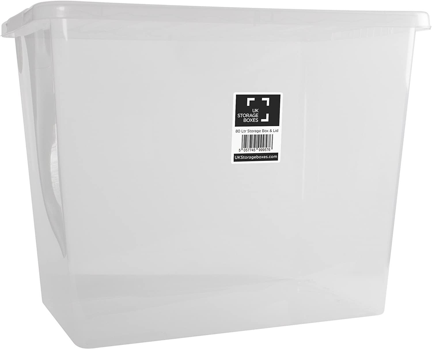 Clear Plastic Storage Box with Lid 80 L - Pack of 10 Transparent