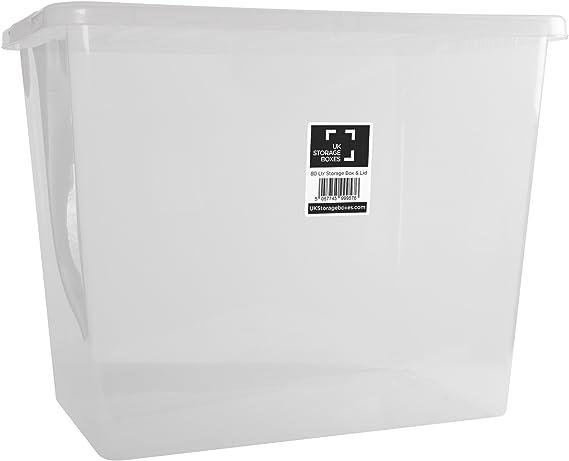 10 pieza – Wham Crystal caja con tapa, 80 L – Transparente: Amazon.es: Hogar