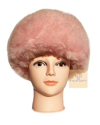 e65dc1a736ff4 IncaGift Authentic Premium Baby Alpaca Fur Hat - Russian Cossack Style Hat  Winter -Wrap Hat (Rose)  Amazon.co.uk  Clothing