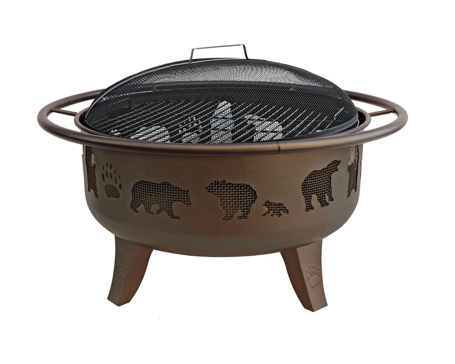 Landmann 23875 Fire Dance Bear and Paw Fire Pit, 30-Inch, Metallic Brown