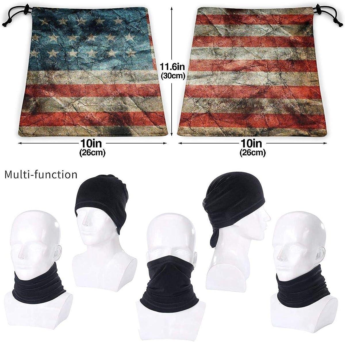 PAPAPI American Flag Bandana Half Buff Face Cover Neck Warmer Balaclava Scarf Anti-Dust For Outdoors Sports