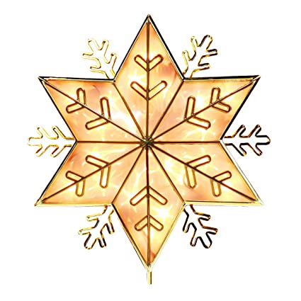 Yunlights Christmas Tree Toppers Lighted Star Tree Topper Gold Glittered Snowflake Christmas Tree Decorations Ornament For Indoor Home Decor Warm