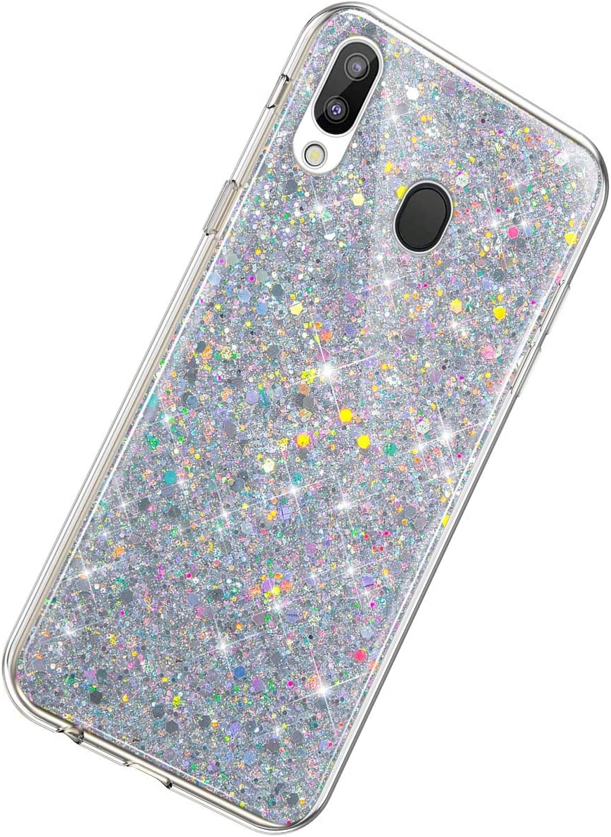 Herbests Compatible with Samsung Galaxy M20 Glitter Case Girl Women Bling Glitter Sparkle Crystal Diamond Rhinestone Crystal Clear Silicone TPU Bumper Case Protective Phone Case,Silver