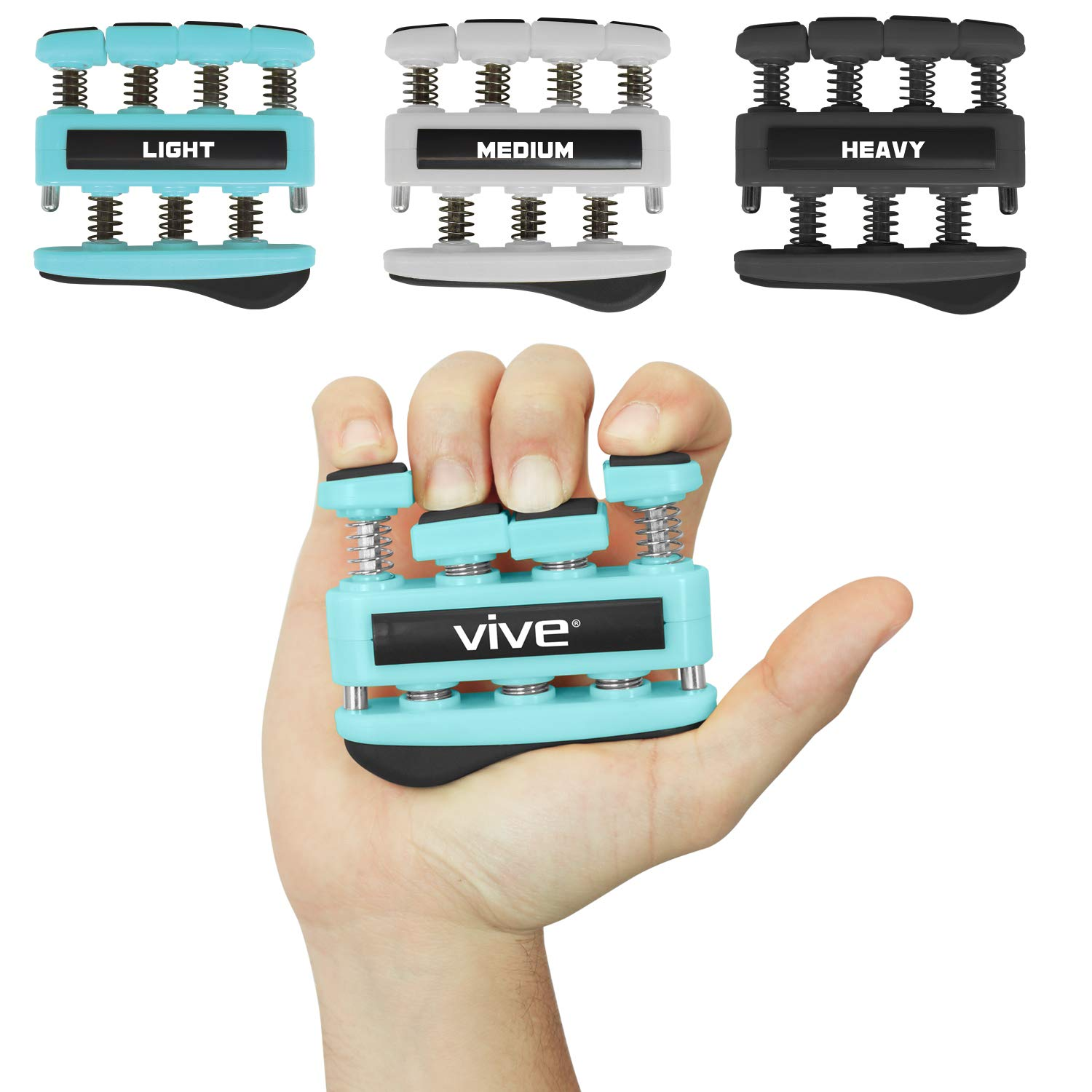 VIVE Finger Strengthener (3 Pack) - Guitar Digit Exerciser - Hand Grip Workout Equipment for Musician, Rock Climbing and Therapy - Master Gripper Exercise Tool - Forearm Muscle Strengthening Kit