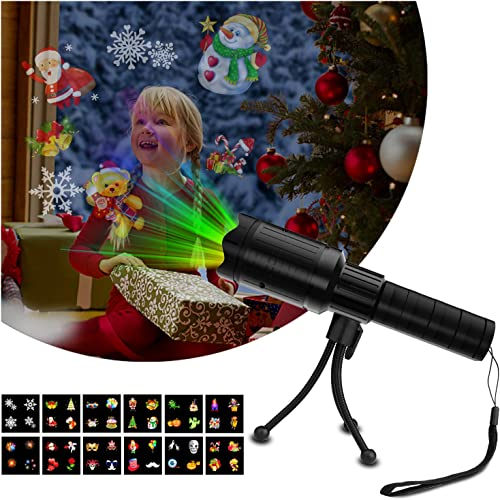 DONWELL Projector Light for Christmas Holiday Halloween Decorative Outdoor Kids Handheld Flashlight 12 Slides