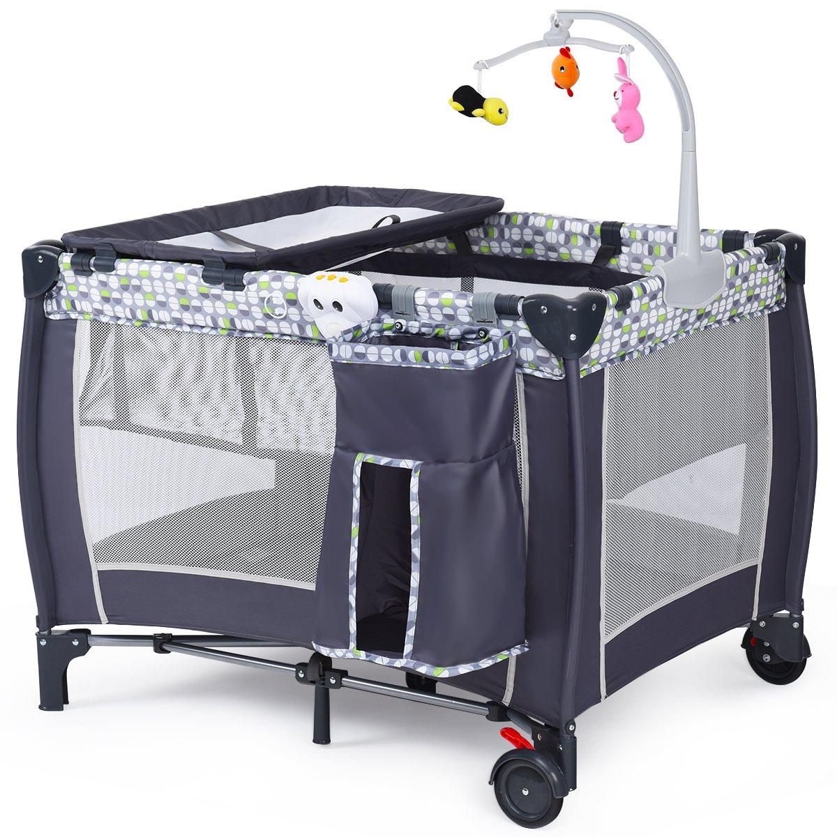 Lit bébé parapluie pliant lit de voyage pour bébé gris muni de crochet de jouets et sac à langer Blitzzauber 24